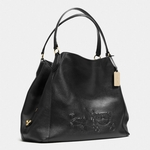 Black Embossed Horse And Carriage Large Edie Shoulder Bag