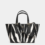 Coach CROSBY mini carryall in zebra printed leather