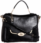 Madison Leather Small Sadie Flap Satchel Black Shoulder Handbag