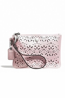 Coach Pale Metallic Eyelet Wristlet Clutch