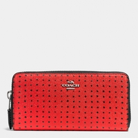 Red Accordion Zip Wallet In Printed Crossgrain Leather