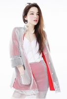 Color-block Mesh Coat with Skirt Set (Two-piece)