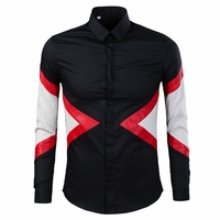 Color Blocked PU Leather Patched Dress Shirt
