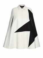 Contrast star wool-blend cape