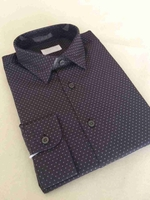 Cube Printed Cotton Point Collar Dress Shirt