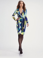 Deep V Neckline Jersey Wrap Dress