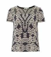 Diane von Furstenberg Black Angela Short Sleeve Top