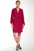 Diane von Furstenberg Lantern-Sleeve Belted Faille Dress