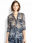 Diane von Furstenberg Lorelei Sheer Animal-print Blouse