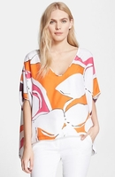 Diane von Furstenberg Multicolor Adria Stretch-Silk Top