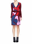 Multicolor Linda Abstract Floral Wool Wrap Dress