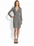 Diane von Furstenberg New Jeanne Silk Jersey Printed Wrap Dress