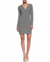 Diane von Furstenberg  Reina Long-Sleeve Chain-Link-Print Dress