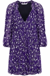 Diane von Furstenberg Purple Fleurette Printed Silk-Chiffon Mini Dress