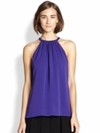 Diane von Furstenberg Purple Pania Sleeveless Silk Blouse