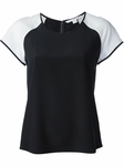Diane von Furstenberg White Top Liva Color Block Silk