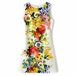 White Floral Printed Cotton Silk Brocade Dress (On Sale)