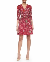 DVF Irina Silk and Chiffon Combo Wrap Dress