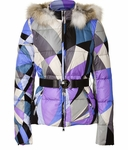 Blue Iris/Silver Grey Belted Down Jacket