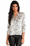 Equipment Animal Ava Printed Silk-satin Blouse