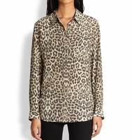 Equipment Animal Reese Leopardprint Silk Shirt