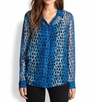 Equipment Blue Audrey Leopard Print Silk Blouse
