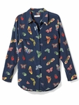 Equipment Blue Butterfly Print Shirt
