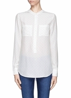 Equipment White Ava Collarless Polka Dot Shirt