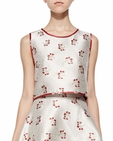 Beige Candy Floral Reversible Cropped Top