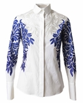 Damask-Embroidered Poplin Blouse (On Sale)