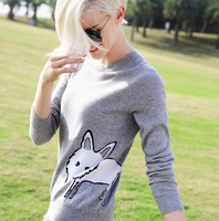 Fox-Graphic Cashmere Sweater