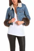 Lim Fur Sleeve Denim Jacket
