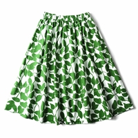 GARDEN LEAVES POPLIN SKIRT