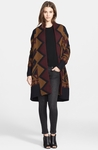 Geo Print Wool Sweater Coat