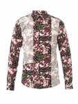 Multicolor Floralprint Panelled Shirt