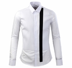White Slimfit Striped Bibfront Cotton Shirt