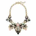 Gold Floral Pastel Statement Necklace