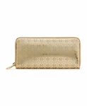 Gold Perforated Flower Ziparound Wallet
