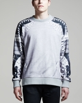 Gray Baseball Lace Detail Print Sweatshirt