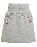 Gray Embellished Jersey Boxing Skirt