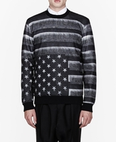 Gray Grey American Flag Printed Sweatshirt
