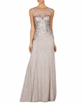 Gray Julea Sleeveless Sequined Gown