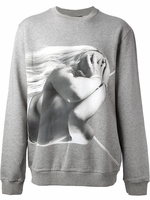 Gray Nude Girl Graphic Sweatshirt