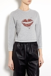 Gray Sweat Top With Lip Embroidery