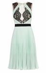 BCBG Green Arianne Scalloped-Edge Pleated Dress
