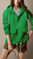 Green Scuba Cotton Jersey Hooded Sweatshirt