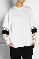 Guipure lace-sleeve cotton-drill top (On Sale)