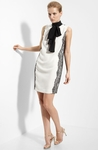Halter Silk Dress with Lace Trim