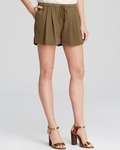 Haute Hippie Silk Drawstring Shorts Green
