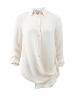 Haute Hippie White Button Down Crossover Blouse